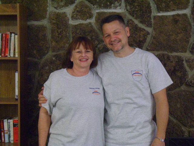 Trish with her husband, Richard,