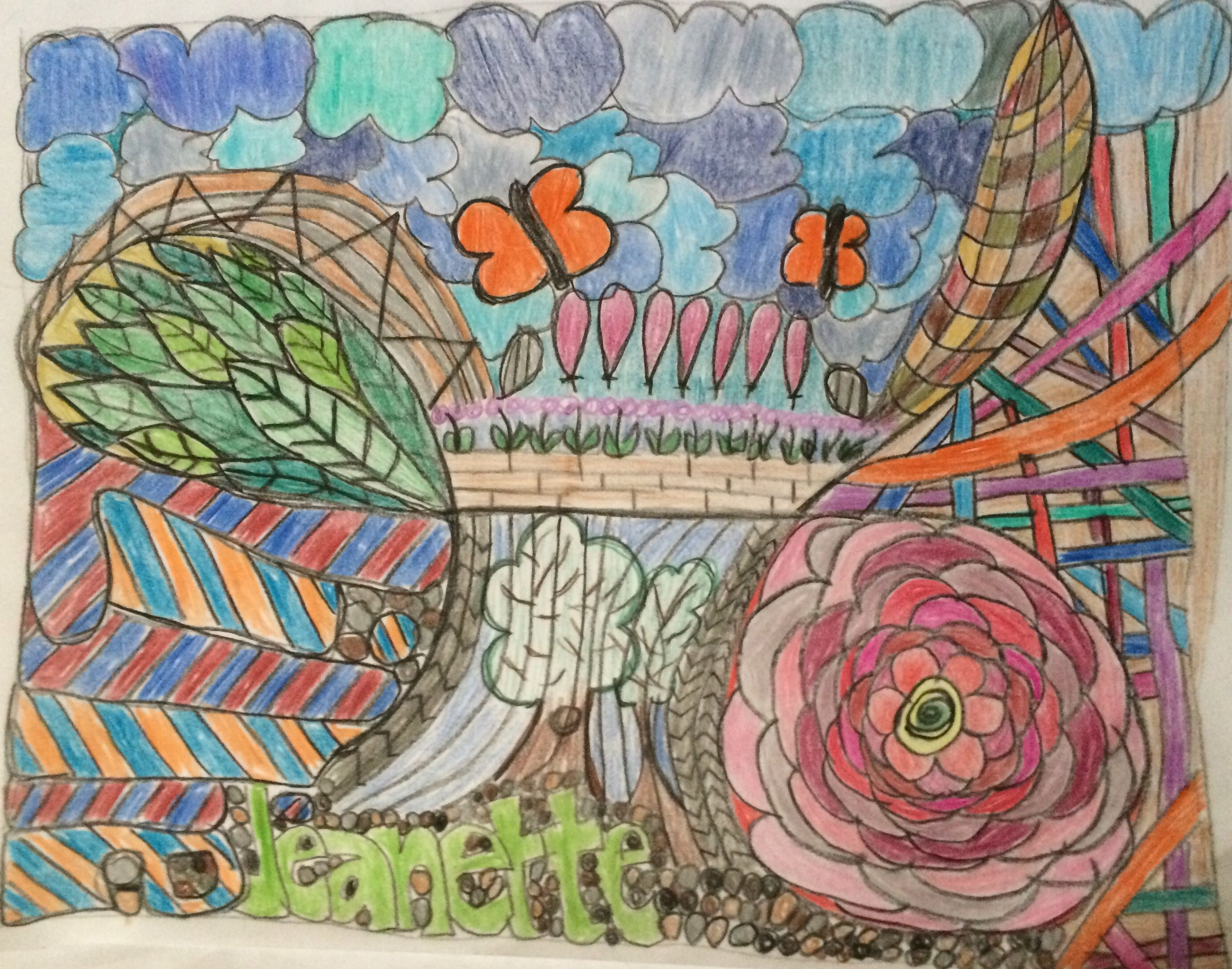 """Lillie submitted this Zentangle in our first show. """"The start of this zentangle started with the cursive capital L for my name. I didn't plan the rest of it but as I went on I added things that I love, the beauty of nature, flowers, trees, leaves, rocks, clouds, butterflies and grass. The zentangle represents the colorful roads of my life."""""""