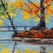 paintings-autumn-season-bridges-lakes-HD-Wallpapers