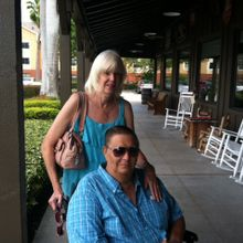 I snapped this photo of Pegi and her husband (and caree) after we met for lunch during a trip to Florida in 2013.