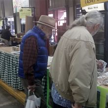 Dad and my husband at a market this fall.