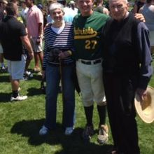 Patrick and my parents on the field after his game on Saturday.