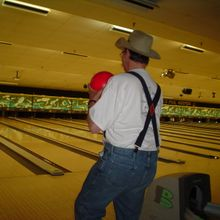 Dean bowling at a fundraiser at one of our conferences